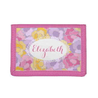 Pretty Floral Pattern Personalized Wallet
