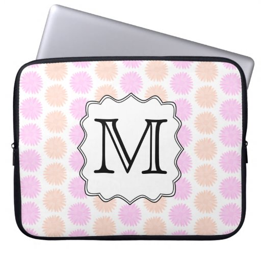 Pretty Floral Pattern with Custom Monogram Letter. Computer Sleeves