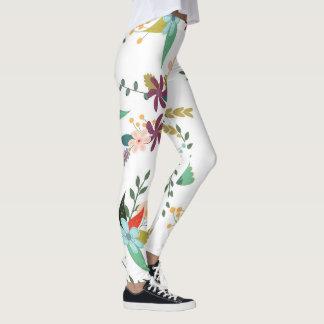 Pretty Floral Pattern with White Backdrop Leggings