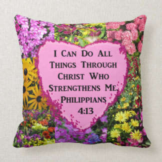 PRETTY FLORAL PHILIPPIANS 4:13 PHOTO DESIGN CUSHION