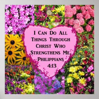 PRETTY FLORAL PHILIPPIANS 4:13 PHOTO DESIGN POSTER