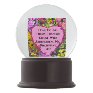 PRETTY FLORAL PHILIPPIANS 4:13 PHOTO DESIGN SNOW GLOBE