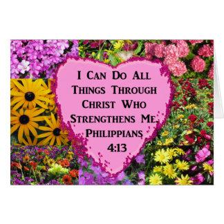 PRETTY FLORAL PHILIPPIANS 4:13 SCRIPTURE CARD