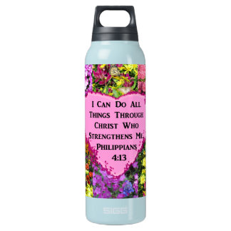 PRETTY FLORAL PHILIPPIANS 4:13 SCRIPTURE INSULATED WATER BOTTLE