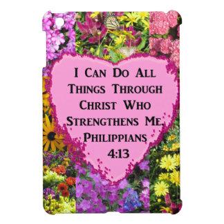 PRETTY FLORAL PHILIPPIANS 4:13 SCRIPTURE iPad MINI CASE
