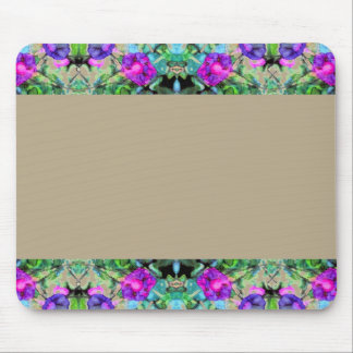 Pretty Floral Purple Morning Glories Watercolor Mouse Pad