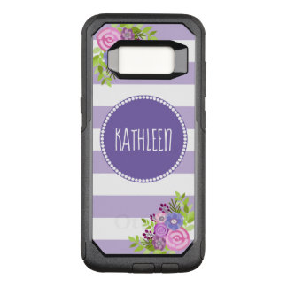 Pretty Floral Purple White Striped Monogram Name OtterBox Commuter Samsung Galaxy S8 Case