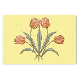 Pretty Floral Red Tulip Flowers on Custom Color Tissue Paper
