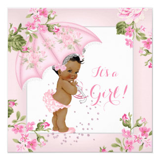 Pretty Floral Rose Baby Shower Pink Girl Ethnic 13 Cm X 13 Cm Square Invitation Card