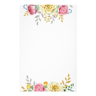 Pretty Floral Roses In Pink and Gold Stationery