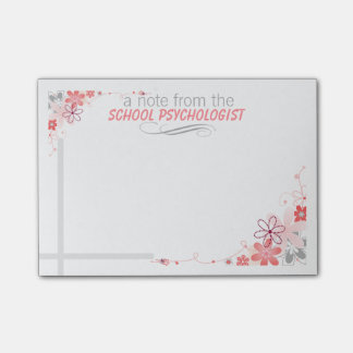 Pretty Floral School Psychologist Post-it Notes
