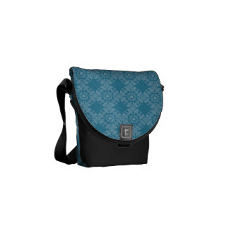Pretty Floral Teal Pattern Courier Bag