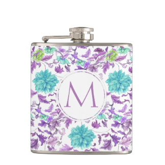 Pretty Floral Turquoise Violet Custom Monogram Hip Flask