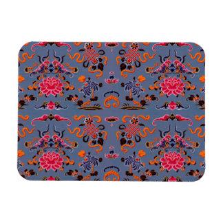 Pretty Floral Violet Blue Red Orange Rectangular Photo Magnet