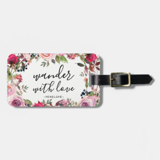 Pretty Floral Wander with Love Luggage Tag