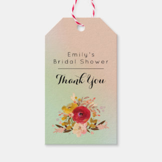 Pretty Floral Watercolor Bouquet Bridal Shower Gift Tags