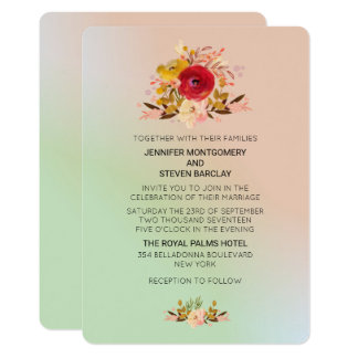 Pretty Floral Wildflowers w/ Wedding Website Card