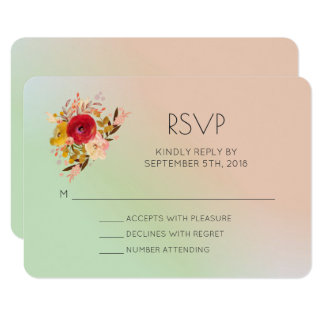 Pretty Floral Wildflowers Watercolor Wedding RSVP Card