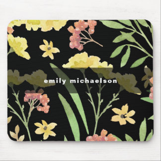 Pretty Floral with Add Name on Black Mouse Pad