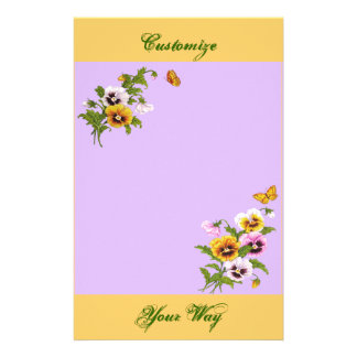 Pretty Floral with Butterflies Custom Stationery
