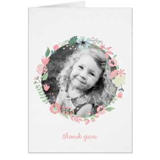 Pretty Floral Wreath Custom Photo Thank You Notes