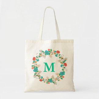 Pretty Floral Wreath Monogram Budget Tote Bag