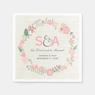 Pretty Floral Wreath Monogram Wedding Napkins Paper Napkins