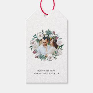 Pretty Floral Wreath Photo and Name Gift Tag