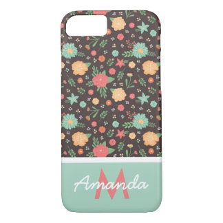 Pretty Florals Coral & Mint Monogrammed iPhone 8/7 Case