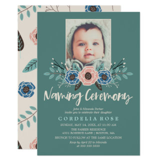 Pretty Florals | Pink & Green Naming Ceremony Card