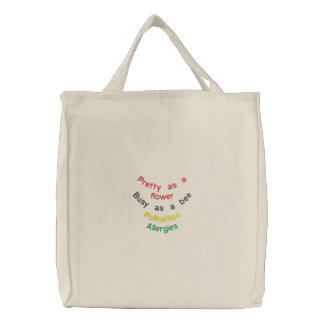 Pretty flower and the busy bee embroidered bags