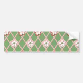 Pretty Flower Argyle Pattern Gifts Green Pink Bumper Sticker