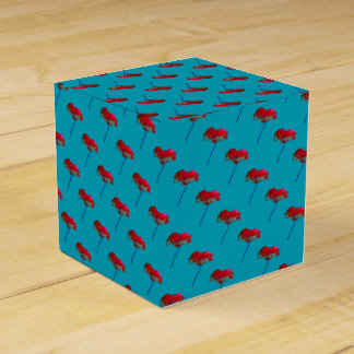 Pretty flower floral blue red poppy favour boxes