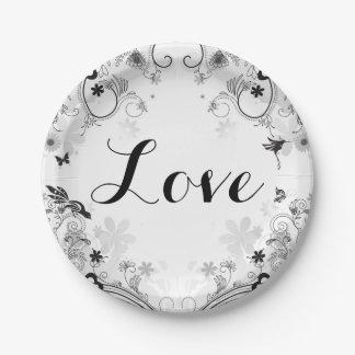 Pretty Flower Garden and Birds ~ Black, White LOVE Paper Plate