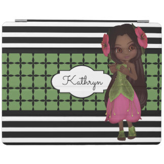Pretty Flower Girl w/Modern Patterns iPad Cover