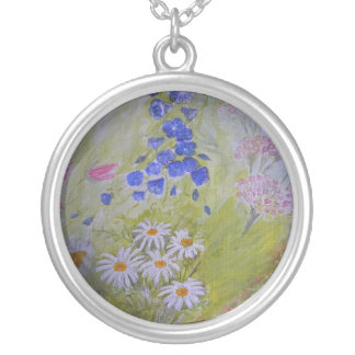 Pretty Flower painting on necklace