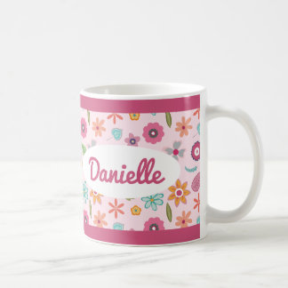 Pretty Flower Pattern Name Mug