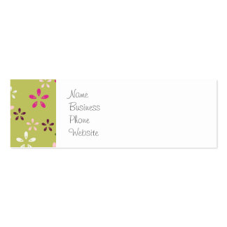 Pretty Flower Pattern Pink and Green Gifts Pack Of Skinny Business Cards