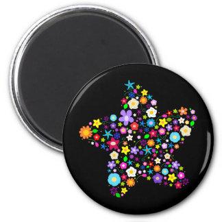 Pretty Flower Star 6 Cm Round Magnet