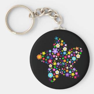 Pretty Flower Star Basic Round Button Key Ring