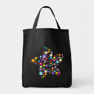 Pretty Flower Star Grocery Tote Bag