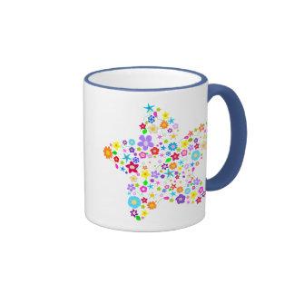 Pretty Flower Star Ringer Mug