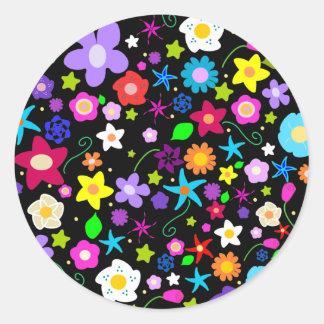 Pretty Flower Star Round Sticker