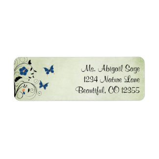 Pretty Flowers and Butterflies Address Return Address Label