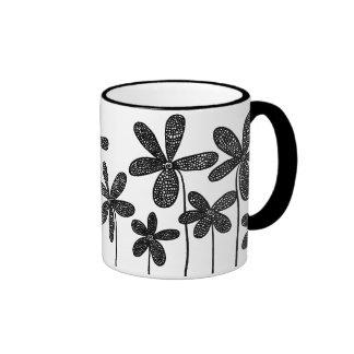 Pretty Flowers - Black and White Ringer Coffee Mug