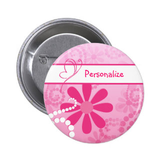Pretty Flowers Cute Pink Retro Daisies With Name Pin