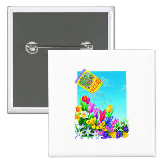 Pretty Flowers Gardening Design 15 Cm Square Badge