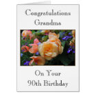 Pretty Flowers, Grandma 90th Birthday Card. Card