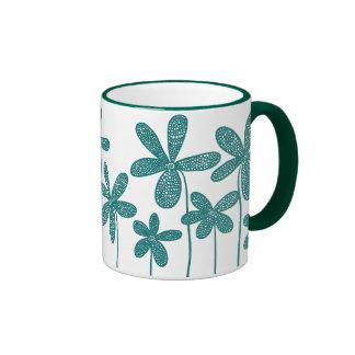 Pretty Flowers - Hunter Green Ringer Mug