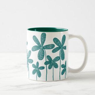 Pretty Flowers - Hunter Green Two-Tone Coffee Mug
